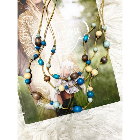 Buckle Wood Beaded Layering Long Necklace